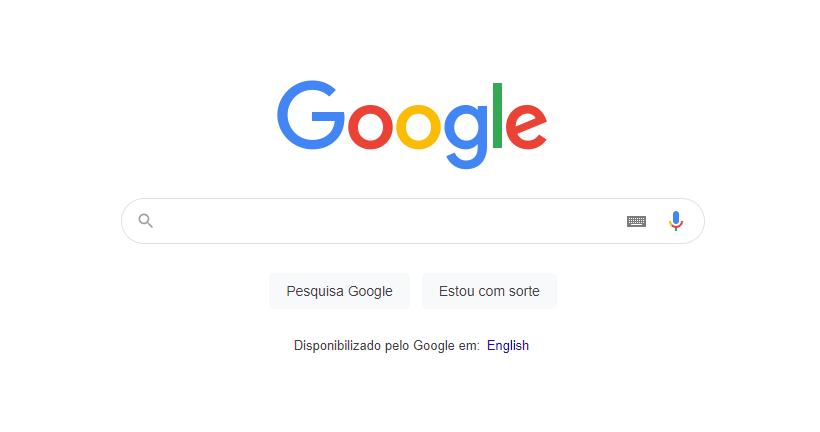 Interface do Google em Agosto de 2021